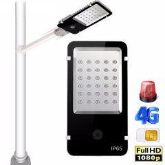 SP1000 2MP 4G WIFI 30W led solar street light with hidden panoramic lens CCTV camera