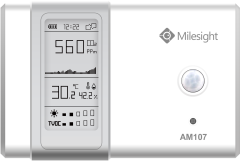 Milesight AM107-915M LoRaWAN Indoor Ambience Monitoring Sensor for measuring bacrometric pressure, temperature, humidity, motion, light, CO2 and TVC